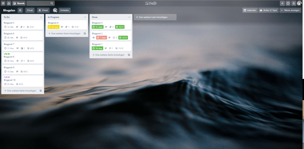 Trello als Content-Plan - Übersicht Trello-Board